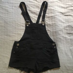 Black distressed overall shorts